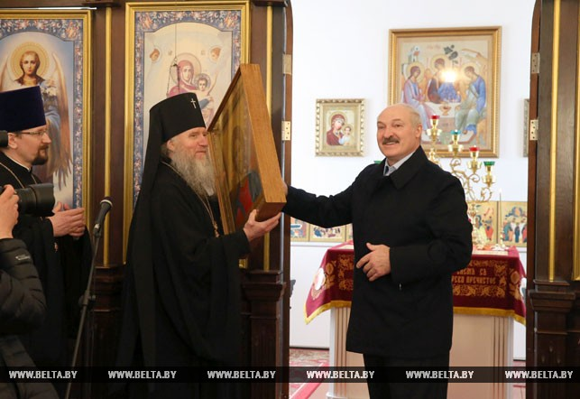 President Alexander Lukashenko gifted an icon of Jesus Christ
